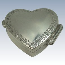 Sterling Cleft Heart Hinged Pill Box