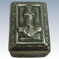 Sterling Anchor Casket Style Pill Box