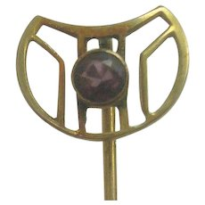 Vintage 10K Gold Garnet Stick Pin