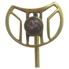 Vintage 10K Gold Garnet Stick Pin