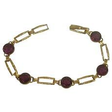 Vintage Simmons Gold Filled Amethyst Faceted Glass Link Bracelet