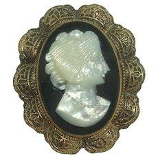 Vintage 12K Gold Filled Cameo Brooch or Pendant