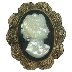 Vintage 12K Gold Filled Cameo Brooch or Pendant