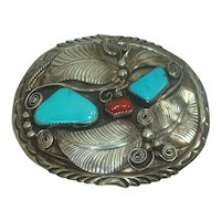 Large Sterling Turquoise and Coral Feather and Scrolls Belt Buckle