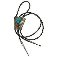 Navajo Sterling Turquoise Coral Bolo Tie