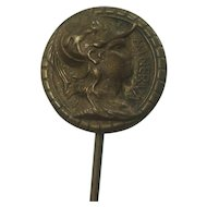 Vintage Minerva Goddess of Wisdom Brass Stickpin