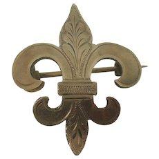 Antique Lapel Watch Fleur di Lis Pin or Brooch