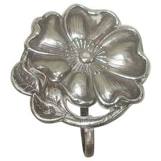 Sterling Art Nouveau Floral Lapel Watch Pin or Brooch