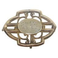Antique Brass Lapel Watch Pin or Brooch