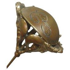 """Antique Victorian Brass Hat Pin 8 1/4"""""""