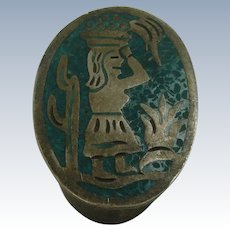 Taxco Scenic Sterling Chip Turquoise Pill Box