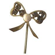 Vintage Ribbon and Bow Rhinestone Brass Stick Pin