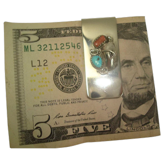 Turquoise Coral Mixed Metal Money Clip