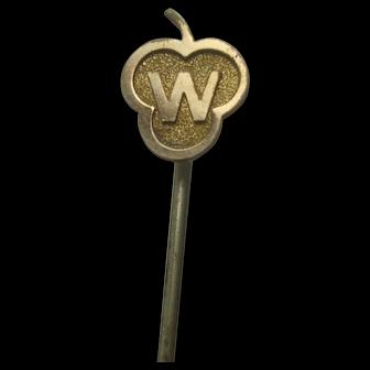 Vintage Brass W Stick Pin