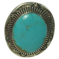 HUGE Signed Eddy Chaco Turquoise Sterling Ring