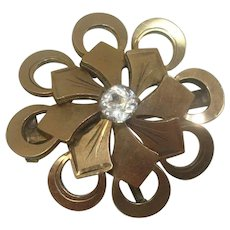 Signed Vintage Floral Rhinestone Lapel Watch Pin or Brooch