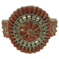 Signed Petite Point Spiny Oyster Sterling Cuff Bracelet