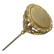Antique Victorian Brass Hat Pin 8""