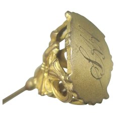"""Antique Victorian Brass Hat Pin 8 1/2"""""""