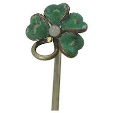 Vintage Enameled Four Leaf Clover Stick Pin