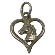 Horse Head in an Open Heart Charm