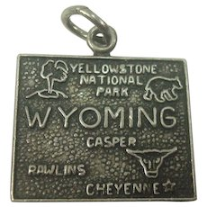 Vintage Wyoming State Charm Sterling Silver
