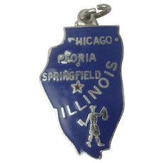 Danecraft Illinois State Enameled Sterling Charm