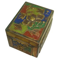 Vintage Enameled and Floral Chinese Stamp Box