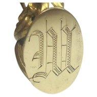 """Antique Brass Hat Pin monogrammed W 9"""""""