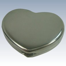 Sterling Heart Shaped Pill or Snuff Box