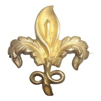 Signed Vintage Brass Fleur di Lis Watch Lapel Pin or Brooch