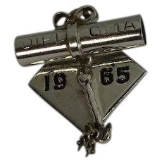 1965 Graduation Cap and Diploma Sterling Charm