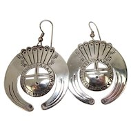 Signed Navajo Sun God Sterling Earrings