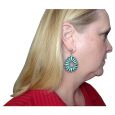 Signed Turquoise Sterling Petite Point Earrings