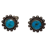 Southwest Style Turquoise Beaded Sterling Earrings