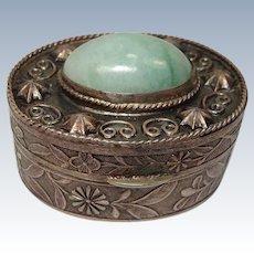 China Export Silver Jade Pill Box
