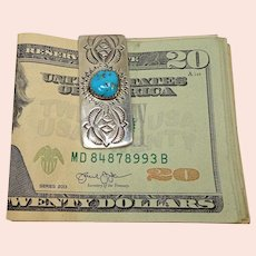 Turquoise Sterling Mixed Metal Stamped Money Clip