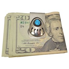 Bear Claw Turquoise Sterling Mixed Metal Money Clip