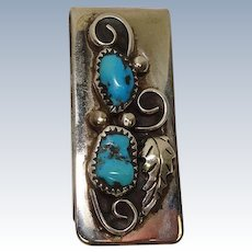 Turquoise Leaf Sterling Mixed Metal Money Clip