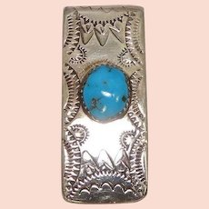 Turquoise Native American Sterling Money Clip