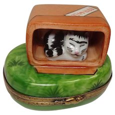Limoges Cat in Crate Porcelain Pill Box