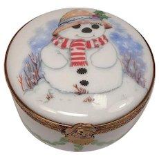 Limoges Snowman Christmas Porcelain Pill Box