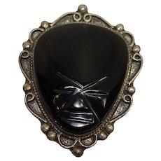 Large Vintage Carved Onyx Sterling Tribal Pin or Brooch