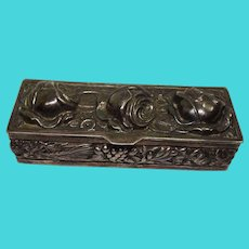 Three Roses Floral and Leaf Sterling Pill Box