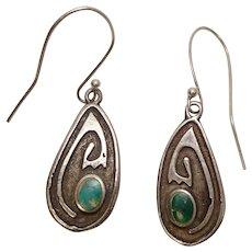 Sterling Handmade Turquoise Kokopelli American Indian Earrings