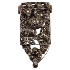 Signed Vintage 1930's Sterling Marcasite Clip Pin