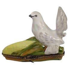 Limoges Bird and Corn Cob Porcelain Hand Painted Pill Box