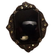 Onyx Marcasite Sterling 1930's Clip Pin