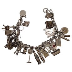 1940's-50's Mechanical Rare and Unusual Charms Sterling Charm Bracelet