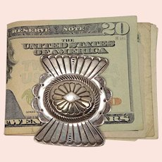Sterling Concho Stamped Sterling Money Clip